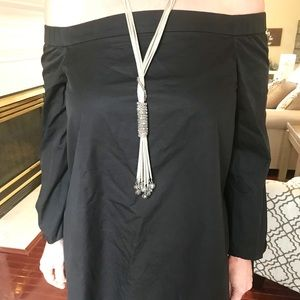 Off shoulder black long top